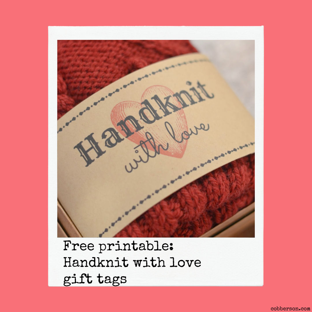 free printable handknit with love gift tags