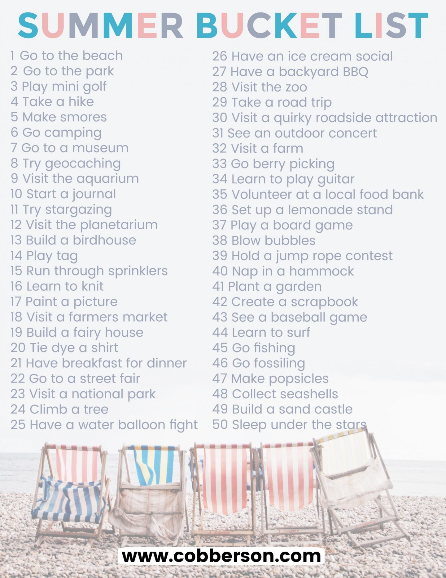 cobberson summer bucket list