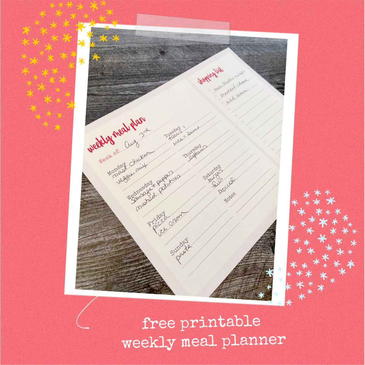 cobberson free printable meal planner shopping list
