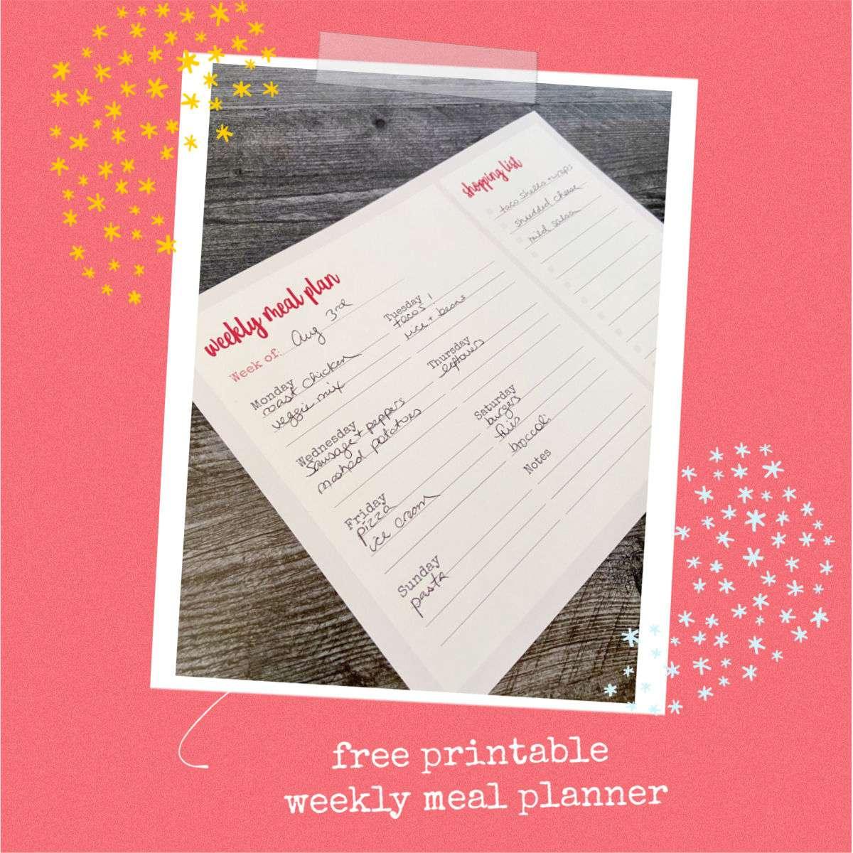 Free printable – weekly meal planner