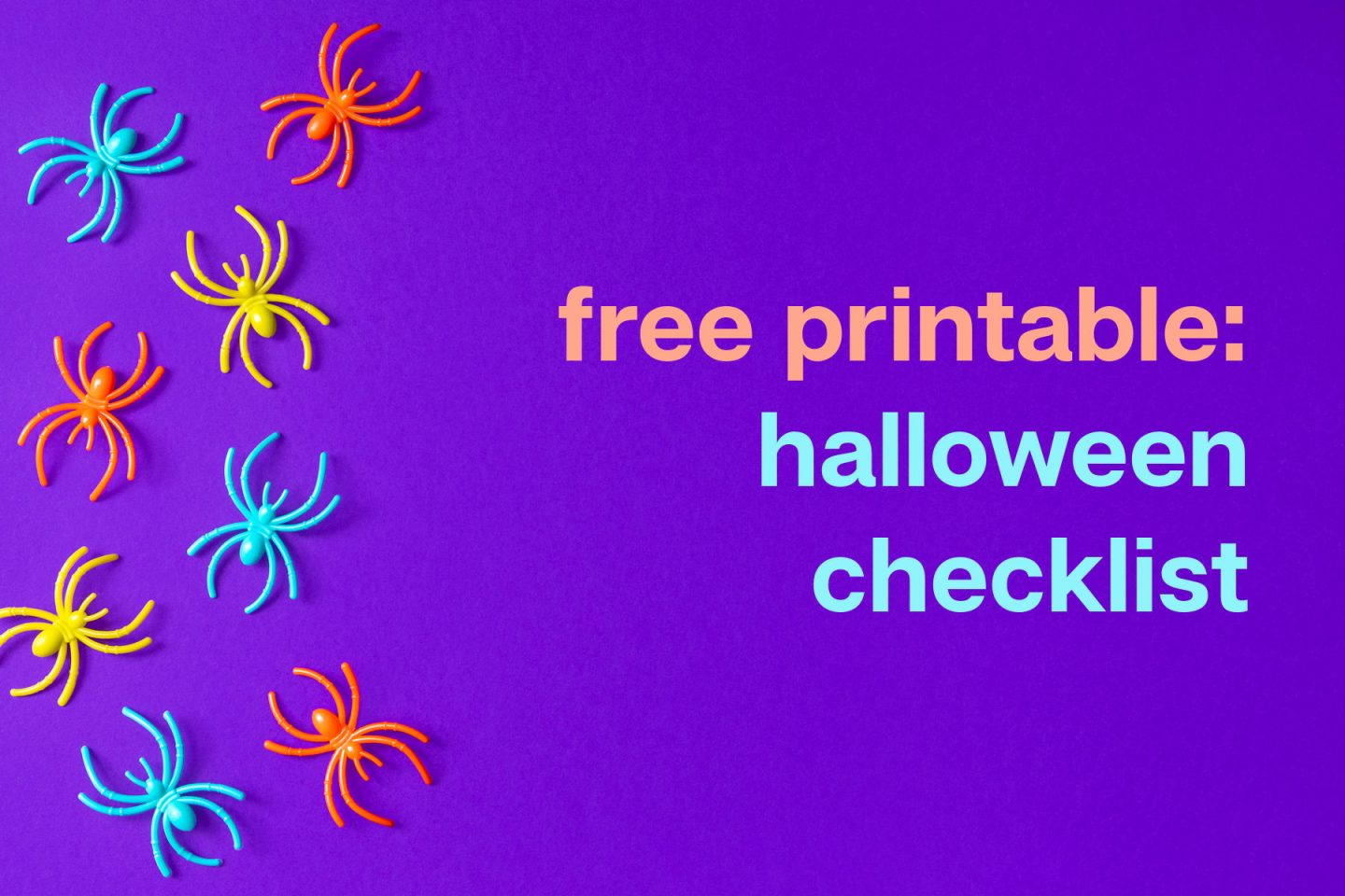 cobberson colorful spiders free printabe halloween checklist