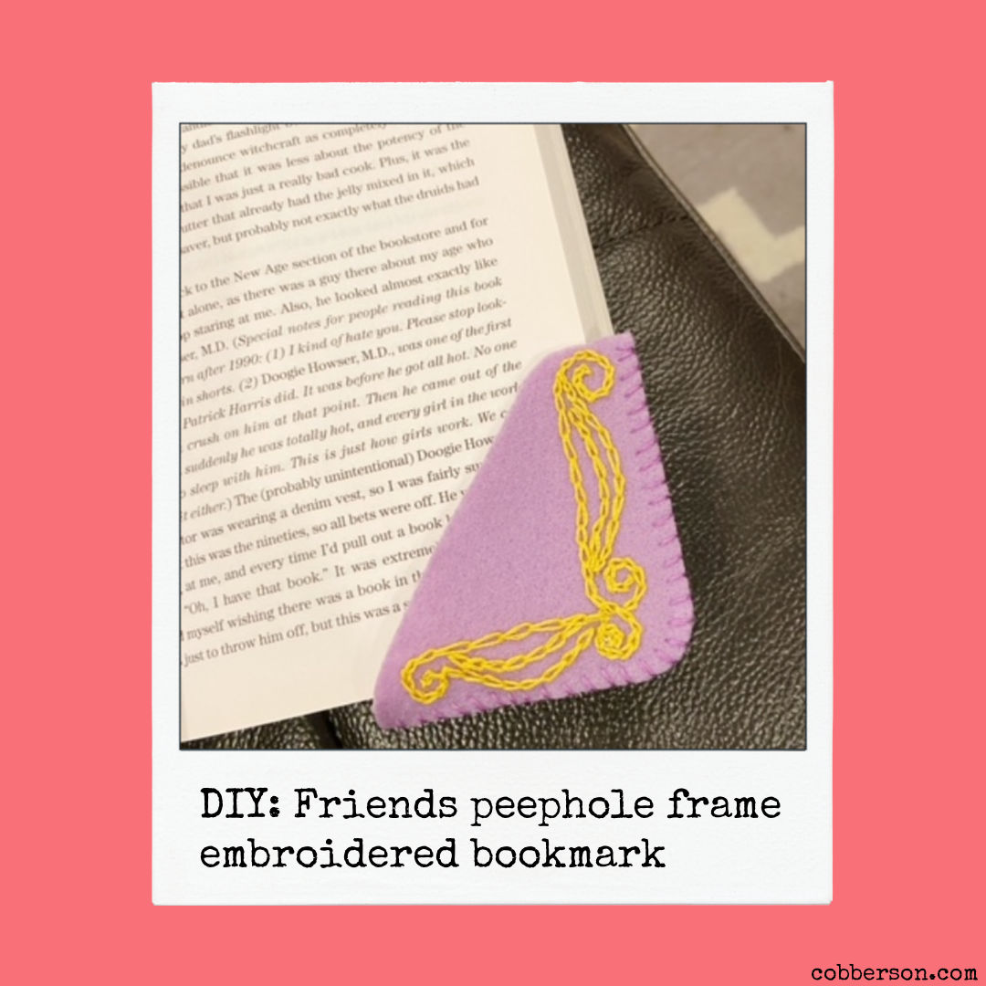 DIY friends peephole frame embroidered bookmark