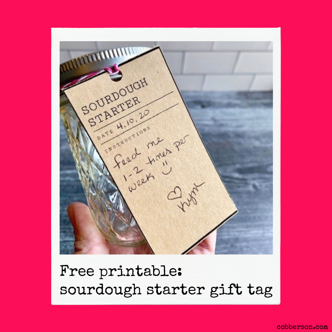 free printable sourdough starter gift tags